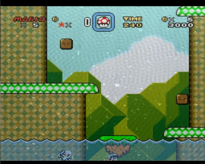 Super Mario World after Mario jumps in water